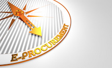 E-Procurement - Golden Compass Needle on a White Background.