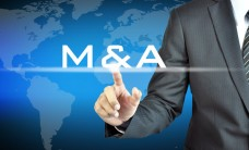 Businessman hand touching M&A