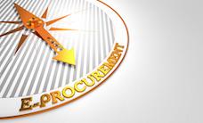E-Procurement - Golden Compass Needle on a White Background.