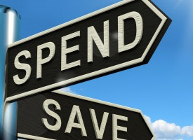 Spend Or Save Signpost Shows Budget Finance And Income