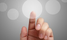 male hand point on touch screen interface as concept