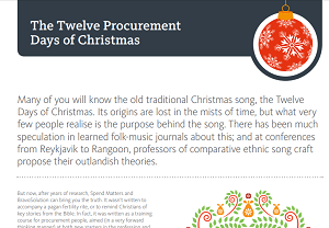 The Twelve Procurement Days of Christmas - Spend Matters Top Papers - Spend  Matters UK/Europe Spend Matters UK/Europe